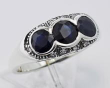 Lovely Art Deco Style Ring w/ Sapphires & Diamonds Sterling Silver #98261v2