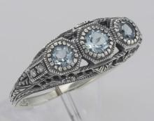 Art Deco Style Blue Topaz Filigree Ring w/ 4 Diamonds - Sterling Silver #98252v2