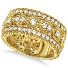 Vintage Byzantine Wide Band Diamond Ring 14k Yellow Gold (1.37ct) #20505v3