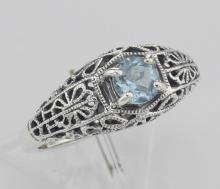 Blue Topaz Fine Filigree Ring - Art Deco Style - Sterling Silver #98241v2