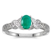 Certified 14k White Gold Oval Emerald And Diamond Ring 0.32 CTW #50821v3
