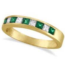 Princess-Cut Diamond and Emerald Ring Band 14k Yellow Gold (0.73ct) #20475v3