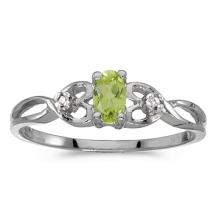 Certified 10k White Gold Oval Peridot And Diamond Ring 0.21 CTW #51464v3