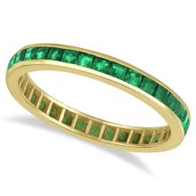 Princess-Cut Emerald Eternity Ring Band 14k Yellow Gold (1.36ct) #20438v3