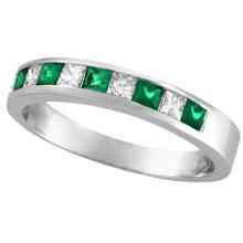 Princess-Cut Diamond and Emerald Ring Band 14k White Gold (0.73ct) #20449v3