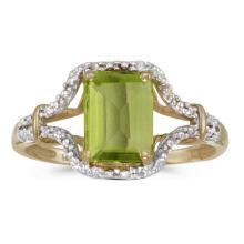 Certified 10k Yellow Gold Emerald-cut Peridot And Diamond Ring 1.32 CTW #51320v3