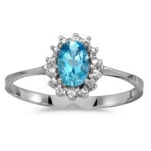 Certified 10k White Gold Oval Blue Topaz And Diamond Ring 0.42 CTW #51254v3