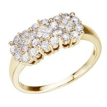 Certified 14K Yellow Gold .75 Ct Diamond Cluster Ring 0.75 CTW #51256v3