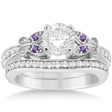Butterfly Diamond and Amethyst Bridal Set 14k White Gold (0.42ct) #20408v3
