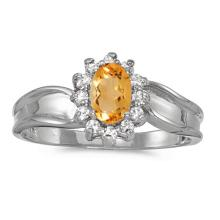 Certified 10k White Gold Oval Citrine And Diamond Ring 0.45 CTW #51309v3