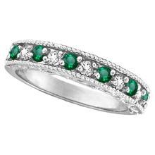 Emerald and Diamond Ring Anniversary Band 14k White Gold (0.30ct) #20530v3