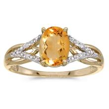 Certified 10k Yellow Gold Oval Citrine And Diamond Ring 1.09 CTW #51508v3