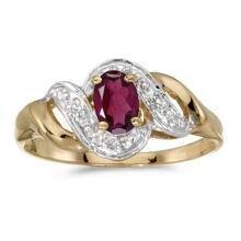 Certified 14k Yellow Gold Oval Rhodolite Garnet And Diamond Swirl Ring 0.5 CTW #51267v3