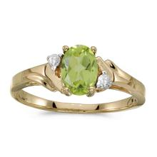 Certified 10k Yellow Gold Oval Peridot And Diamond Ring 0.71 CTW #51302v3