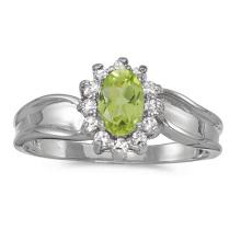 Certified 10k White Gold Oval Peridot And Diamond Ring 0.54 CTW #51325v3