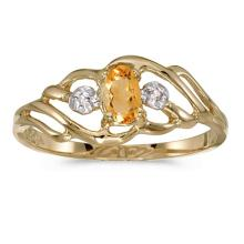 Certified 10k Yellow Gold Oval Citrine And Diamond Ring 0.16 CTW #51265v3