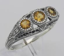 Art Deco Style Citrine Filigree Ring w/ 4 Diamonds - Sterling Silver #98240v2
