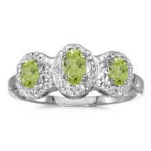 Certified 14k White Gold Oval Peridot And Diamond Three Stone Ring 0.54 CTW #51318v3