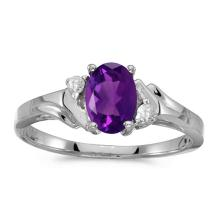 Certified 14k White Gold Oval Amethyst And Diamond Ring 0.49 CTW #50827v3
