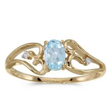 Certified 14k Yellow Gold Oval Aquamarine And Diamond Ring 0.3 CTW #50635v3