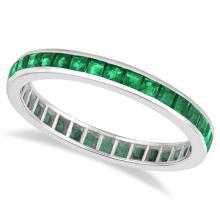Princess-Cut Emerald Eternity Ring Band 14k White Gold (1.36ct) #20390v3