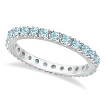 Aquamarine Eternity Stackable Ring Guard Band 14K White Gold (0.50ct) #20487v3