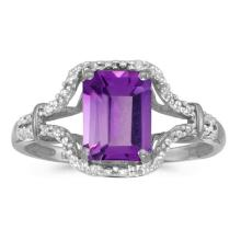 Certified 10k White Gold Emerald-cut Amethyst And Diamond Ring 1.24 CTW #51301v3