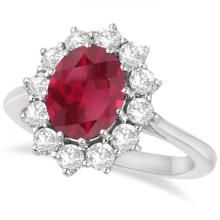 Oval Ruby and Diamond Ring 14k White Gold (3.60ctw) #20457v3