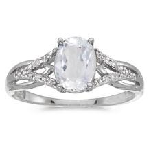 Certified 10k White Gold Oval White Topaz And Diamond Ring 1.62 CTW #51467v3