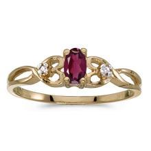 Certified 10k Yellow Gold Oval Rhodolite Garnet And Diamond Ring 0.25 CTW #51513v3