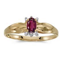 Certified 14k Yellow Gold Oval Rhodolite Garnet And Diamond Ring 0.24 CTW #50623v3
