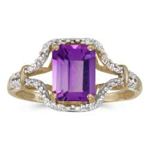 Certified 10k Yellow Gold Emerald-cut Amethyst And Diamond Ring 1.24 CTW #51327v3