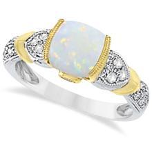 Tanzanite, Diamond and Opal Ring 14k Two-Tone Gold (1.10ct) #20510v3