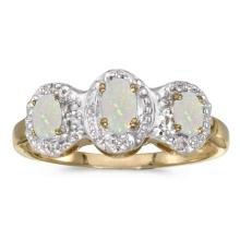 Certified 10k Yellow Gold Oval Opal And Diamond Three Stone Ring 0.33 CTW #51453v3