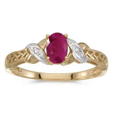 Certified 14k Yellow Gold Oval Ruby And Diamond Ring 0.37 CTW #25575v3