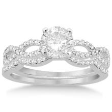 Infinity Twisted Diamond Ring Matching Bridal Set in platinum (0.34ct) #20427v3