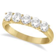 Five Stone Diamond Ring Anniversary Band 14k Yellow Gold (1.00ctw) #20455v3
