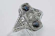 Art Deco Filigree Ring Sapphires and CZ - Sterling Silver #98326v2