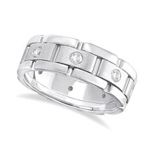 Mens Wide Band Diamond Eternity Wedding Ring 14kt White Gold (0.40ct) #PAPPS20960
