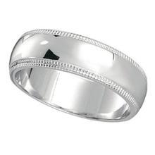 Mens Wedding Band Dome Comfort-Fit Milgrain 950 Platinum (5 mm) #PAPPS20898