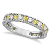 Fancy Yellow Canary and White Diamond Eternity Ring 14k Gold (1.00ct) #PAPPS20601