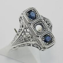 Classic Art Deco Style Ring - Semi Mount Sterling Silver #PAPPS98346