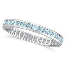 Aquamarine Channel-Set Eternity Ring Band 14k White Gold (1.08ct) #PAPPS20679
