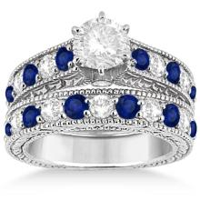 Antique Diamond and Sapphire Bridal Ring Set 14k White Gold (3.47ct) #PAPPS20478