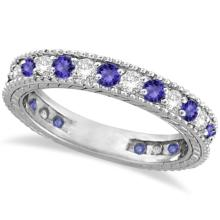 Diamond and Tanzanite Eternity Ring Band 14k White Gold (1.08ct) #PAPPS20653