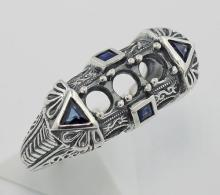 Art Deco Style Semi Mount Ring Sapphire Accents - Sterling Silver #PAPPS98349