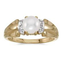 Certified 10k Yellow Gold Pearl And Diamond Ring 0.01 CTW #PAPPS25658