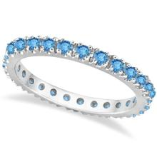 Blue Topaz Eternity Stackable Ring Band 14K White Gold (0.75ct) #PAPPS20790