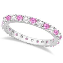 Diamond and Pink Sapphire Eternity Ring Stackable 14k White Gold (0.63ct) #PAPPS21342
