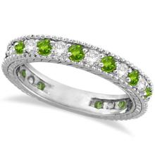Diamond and Peridot Eternity Ring Band 14k White Gold (1.08ct) #PAPPS20579